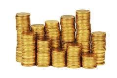 Guld- pengarbunt som isoleras på vit Arkivfoto