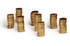Guld- pengarbunt som isoleras på vit Royaltyfria Foton