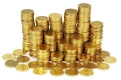 Guld- pengarbunt som isoleras på vit Arkivbild
