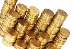 Guld- pengarbunt som isoleras på vit Arkivfoton
