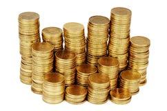 Guld- pengarbunt som isoleras på vit Fotografering för Bildbyråer