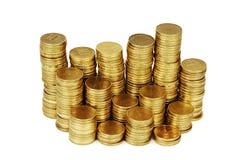 Guld- pengarbunt som isoleras på vit Royaltyfria Bilder