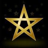 Guld- pentagram vektor illustrationer