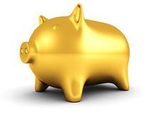 Guld- piggy pengar packar ihop på vitbakgrund Arkivbild
