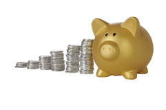 Guld- Piggybank med mynt Arkivbild