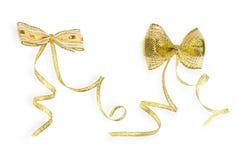 Guld- pilbåge på vit Royaltyfria Bilder