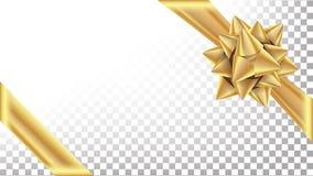 Guld- pilbågevektor Lyxig bred gåvapilbåge Genomskinlig bakgrundsillustration för ferie royaltyfri illustrationer