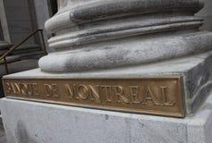 Guld pläterade Banque de Montreal Arkivfoto