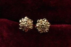 Guld- pläterade smycken - önska den märkes- guld- örhängemakrobilden royaltyfri bild