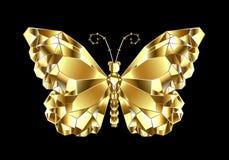 Guld- polygonal fjäril på svart bakgrund stock illustrationer