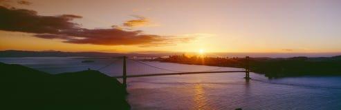 Guld- port & San Francisco från Marin uddar, solnedgång, Kalifornien Arkivbild