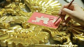 Guld- potal för Grunge Folie på den arkitektoniska detaljen Cracelures bitumenfernissa lager videofilmer