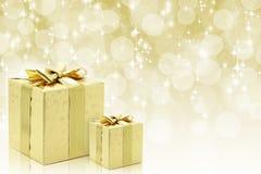 guld- presents för jul Royaltyfria Foton