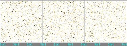 Guld- prickkonfettiberöm Enkel design för guld- folie Ställ in av prickkonfettibakgrunder Stjärnklara vektorillustrationer 3 stock illustrationer