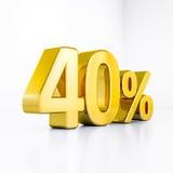 Guld- procenttecken Arkivbild