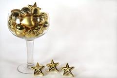 guld- prydnad för champagne Royaltyfri Fotografi