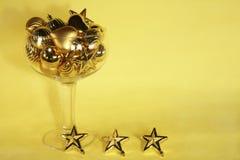 guld- prydnad för champagnejul Fotografering för Bildbyråer