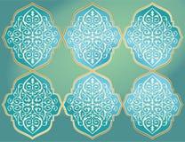 GULD- PRYDNAD I MÖRKRET - blå BAKGRUND royaltyfri illustrationer