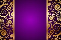 Guld- prydnad på purpurfärgad bakgrund stock illustrationer