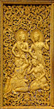guld- prydnadar för budhistport Royaltyfri Fotografi