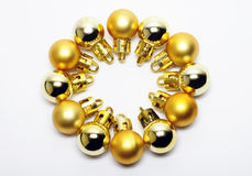 guld- prydnadar för jul Royaltyfria Foton
