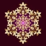 Guld- prydnadbeståndsdel i form av en mandala, vektorillustration på mörk bakgrund royaltyfri bild