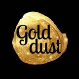 Guld- pulver, guld- fläck av målarfärg, handgjort som glöder markerar ormusguld, vektorillustration Arkivbild