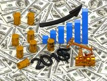 Guld- Pumpjack och spilld olja på pengarna 3d framför Arkivfoto