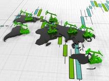 Guld- Pumpjack olja på bakgrunden av i citerade börsen för strömkretsen den kontinenter, 3d framför Royaltyfri Foto