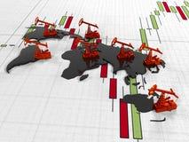 Guld- Pumpjack olja på bakgrunden av i citerade börsen för strömkretsen den kontinenter, 3d framför Arkivbilder