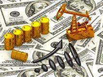 Guld- pumpstålar och spilld olja på pengarna 3d framför Arkivfoton