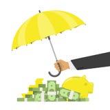 Guld- pund Sterling Sign under paraplyet på en vit bakgrund Arkivbild