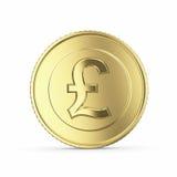 Guld- pundmynt på vit bakgrund Arkivfoton