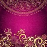 Guld-purpur ram för tappning Royaltyfria Foton