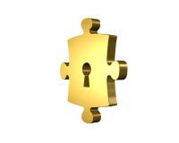Guld- pusselstycke med tolkningen för nyckelhål 3D Royaltyfri Bild