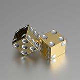 guld- räckt höger silver för kasinotärningögon Arkivbild