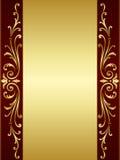 guld- röd scrolltappning för bakgrund Arkivbild