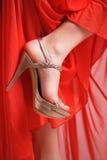 guld- röd sko för klänning Arkivbild