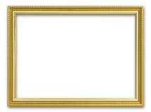 Guld- ram för att måla eller bild på vit bakgrund Arkivfoto