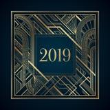 Guld- ram för nytt år för art déco 2019 på mörk bakgrund Royaltyfri Illustrationer