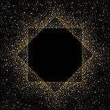 Guld- ram för oktogon som göras av prickar, paljetter, klickar Royaltyfria Bilder