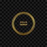 Guld- ram för rund grunge på på genomskinlig bakgrund Lyxig tappninggräns för cirkel, vektor illustrationer