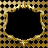 Guld- ram för tappning med det svarta fältet på rhomboidsbakgrund Royaltyfria Bilder