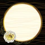 Guld- ram för tappning med krysantemumet Stock Illustrationer