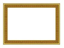 Guld- ram för tappning som isoleras på vit bakgrund, med att fästa ihop p Fotografering för Bildbyråer