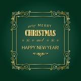 Guld- ram för tappningjul Glad jul och det lyckliga nya året önskar hälsningkortdesign i retro stil royaltyfri illustrationer