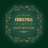 Guld- ram för tappningjul Glad jul och det lyckliga nya året önskar hälsningkortdesign i retro stil vektor illustrationer