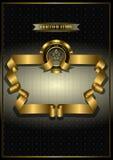 Guld- ram för utmärkelser på mönstrad mörk bakgrund Royaltyfri Foto