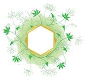 Guld- ram för vektor med den vita mitten och gröna växter Royaltyfria Bilder