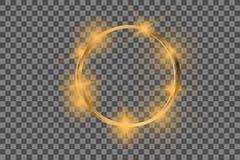 Guld- ram för vektor med ljuseffekter Glänsande rektangelbaner royaltyfri illustrationer
